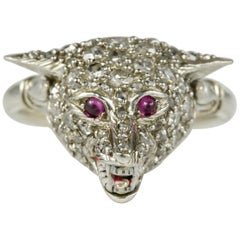 English Edwardian Diamond Ruby Wild Wolf Rare Platinum Ring