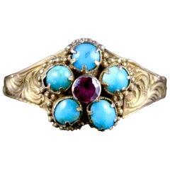 Antique Georgian Turquoise Ruby Ring 12 Carat, circa 1800