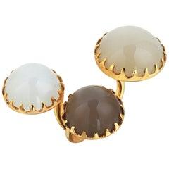 Gold Moonstone Modern Ring