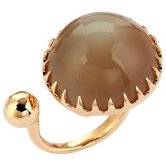Gold Smoky Grey Moonstone Modern Ring