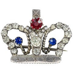 Antique Victorian Paste Stone Crown Brooch, circa 1900