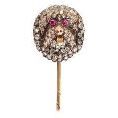 Antique Victorian Diamond Ruby Tibetan Mastiff Stick Pin