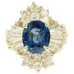 Vintage Blue Sapphire and Diamond 18 Karat Cocktail Ring