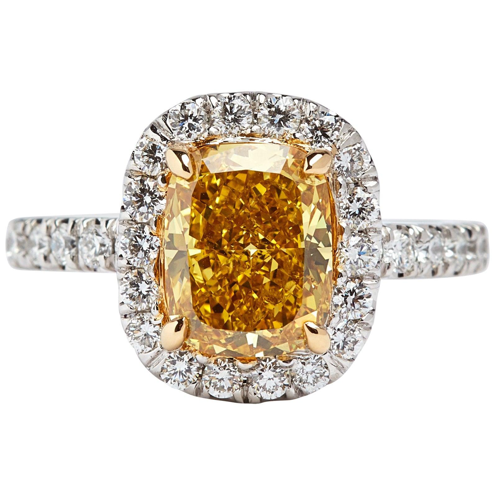 GIA Certified 2.34 Carat Fancy Vivid Yellow Cushion Cut Diamond Ring