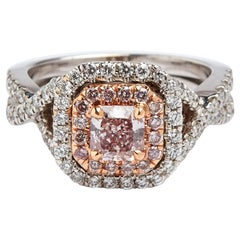GIA Certified 0.62 Carat Natural Brown Pink Radiant Cut Diamond Ring