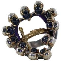 DELFINA DELETTREZ Sapphire Gold Silver Ring With Crucifix