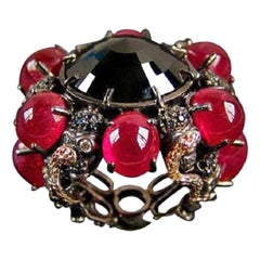 DELFINA DELETTREZ Black Diamond Ruby Gold Ring