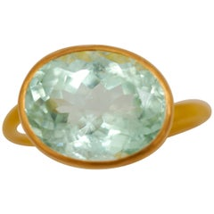 Scrives Water Blue Green Tourmaline 22 Karat Gold Ring