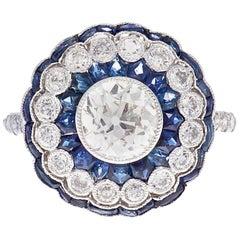 1.07 Carat Old European Cut Diamond Sapphire Platinum Engagement Ring