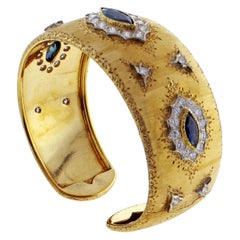 Buccellati Sapphire and Diamond Gold Cuff Bracelet
