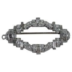 American Art Deco Platinum and Diamond Brooch