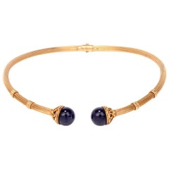 Ilias Lalaounis Lapis Lazuli 18 Karat Gold Torque Collar Necklace