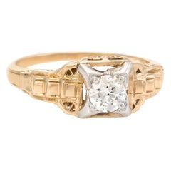 Antique Art Deco Diamond Ring Vintage 14 Karat Two-Tone Gold Fine Jewelry