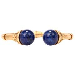 Ilias Lalaounis Lapis Lazuli 18 Karat Gold Bangle Bracelet