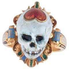 Codognato Enamel Gold Skull Memento Mori Ring