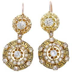 Victorian Diamond Enamel Gold Drop Earrings