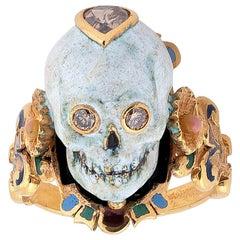 Codognato Renaissance Style Enamel Diamond Gold Skull Ring