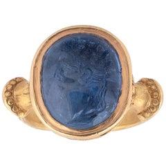 Sapphire Intaglio Ring Late 18th Century Roman Emperor Caligola
