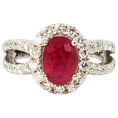 2.38 Carat Oval Ruby 1.81 Carat Diamond Halo Ring Woven Shoulders White Gold