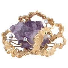 Amethyst Crystal Aggregate, Diamond and 18 Karat Gold Brooch