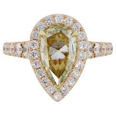 Henri Daussi 2.02 Carat Rose Cut Pear Shape Diamond Halo Engagement Ring