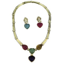 Adler Geneva Heart shape Aquamarine Tourmaline Diamonds set Necklace & Earrings