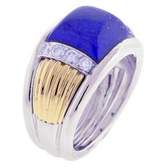 Van Cleef & Arpels Lapis and Diamond White and Yellow Gold Ring
