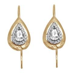 18 Karat Gold and Diamond Earrings with 1 Carat Diamonds