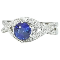 1.02 Carat Blue Sapphire White Gold Diamond Engagement or Right Hand Ring