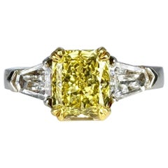 GIA Certified 1.68 Carat Natural Fancy Intense Yellow Diamond Ring in Platinum