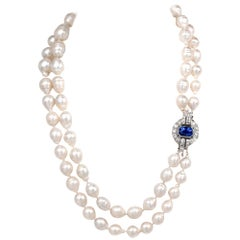 Antique Diamond Sapphire South Sea Pearl Strand Pendant Necklace