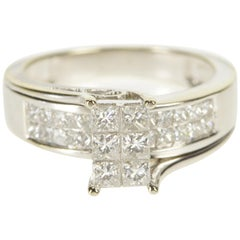 Princess Cut Diamond Cluster White Gold Engagement Ring