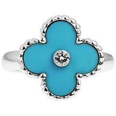 Van Cleef & Arpels VCA Vintage Alhambra ring with Turquoise and Diamond Retaired