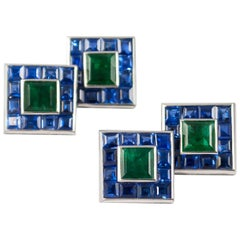 J. Birnbach Emerald and Sapphire Cufflink and Stud Set