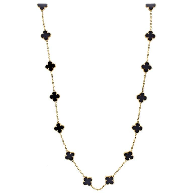 Van Cleef & Arpels Vintage Alhambra 20 Motifs Long Onyx Necklace