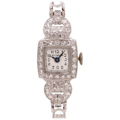 Lady Wittnauer Platinum and Diamond Watch, circa 1940s