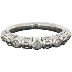 Lagos Sterling Silver Round Diamond Caviar Stacking Band Ring