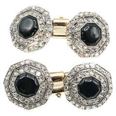 Art Deco Onyx Platinum Diamond and Gold Hexagonal Cufflinks