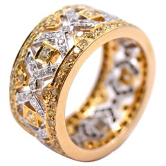 Sethi Couture 2.25 Carat Diamond Band in 18 Karat White and Yellow Gold