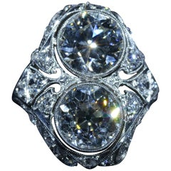 Antique Two Diamond Filigree Ring in Platinum Set with 2.30 Carat and 2.48 Carat