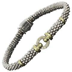 Lagos Enso Circle Game Gold and Silver Round Diamond Caviar Bracelet