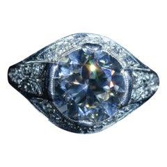 Antique Platinum Filigree Engagement Ring with 2.04 Carat European Cut Diamond