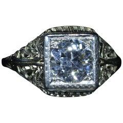Ladies 18 Karat White Gold Filigree Engagement Ring Set with 1.25 Carat European