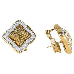 "David Yuman ""Quatrefoil"" Earrings, 0.80 Carat Total Diamond Weight Set in 18K"