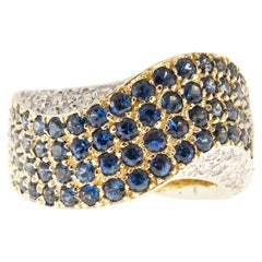 2.70 Carat Blue Sapphire Diamond Gold Domed Swirl Ring