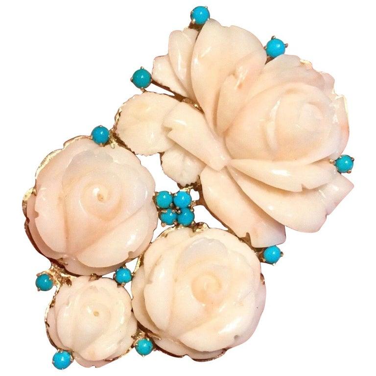 Impressive 14 Karat Gold Angel Skin Coral Turquoise Brooch Pin Pendant