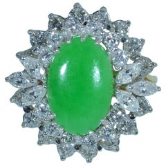 GIA Graded Natural Jadeite Jade Ring Set with 2.00 Carat Diamonds in 18 Karat