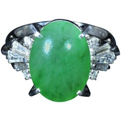 Platinum GIA Graded 12 Carat Natural Jadeite Jade Ring Set with Diamonds