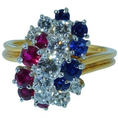 Patriotic Oscar Heyman Signed Ruby, Diamond, Sapphire Ring in 18 Karat and Plat