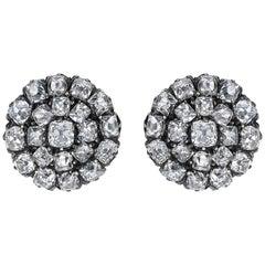 Victorian Old Cut Diamond Cluster Stud Earrings